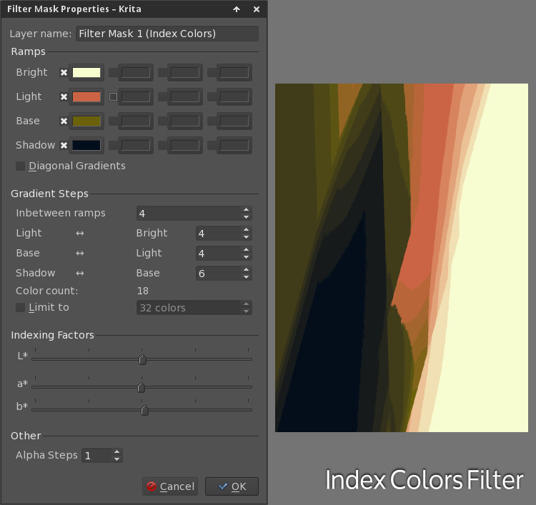 Filter: Index Colors dialog