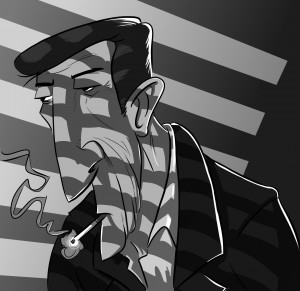 Humphrey Boghart Caricature by Daniel Pinheiro Lima (http://prenudos.com/)