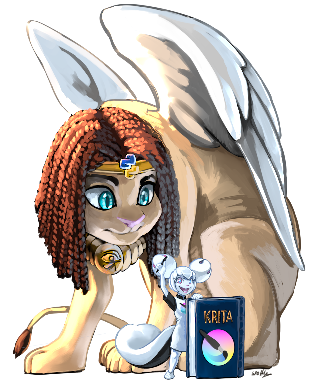 "Kiki, the Krita mascot, is on the foreground, leaning on a book with the title ""Krita"" and the Krita logo. In her right hand, she's holding up a stylus, and she's facing the audience with a big grin. On the background a giant sphinx is sitting, hunched over to look at Kiki."