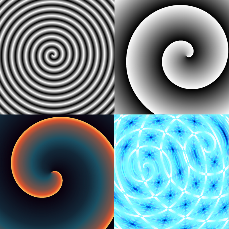 Several spirals made with the spiral gradient option.