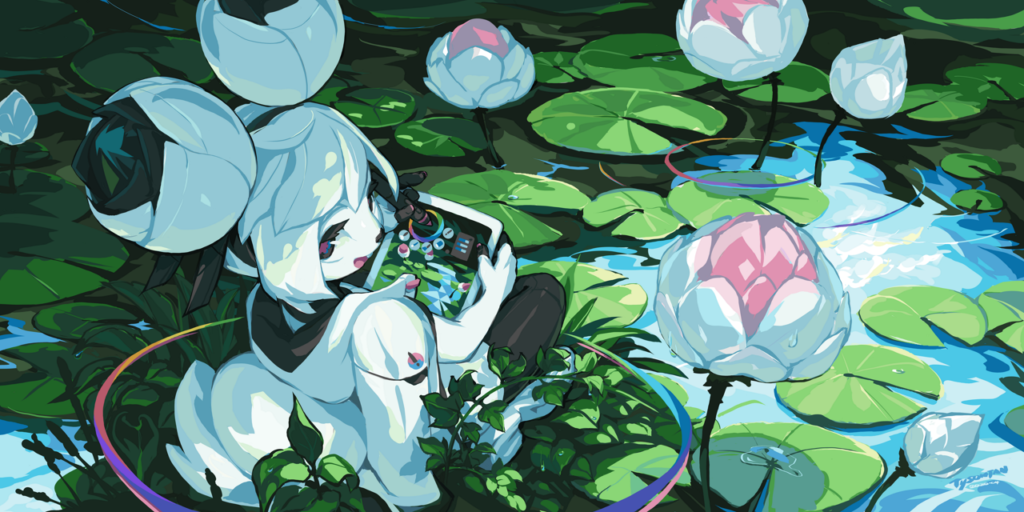 Kiki among the waterlilies