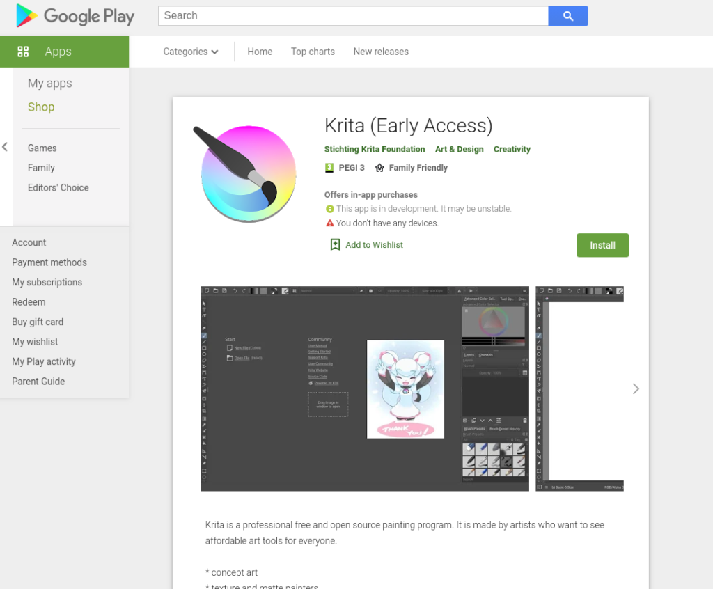 First Krita Beta for Android and ChromeOS in Play Store