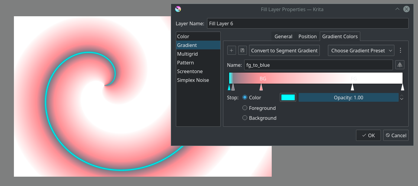Showing the gradient fill layer and the new gradient editor.